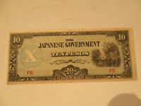 WWII THE JAPANESE GOVERNMENT TEN PESOS BANK NOTE FINE AU 89