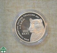 1997 THAILAND 100 BAHT PROOF COIN IN CAPSULE   WWF CONSERVIN