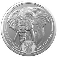 2019 ELEPHANT BIG FIVE 1 OZ SILVER COIN 5 RAND SOUTH AFRICA