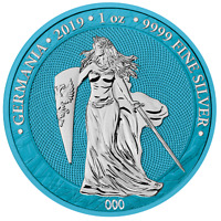 2019 GERMANIA SPACE BLUE 5 MARK 1 OZ .9999 SILVER ROUND CERT