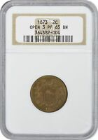 1873 TWO CENT PIECE OPEN 3 PR65BN NGC
