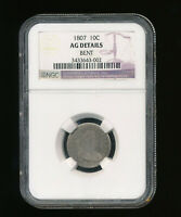 1807-P DRAPED BUST SILVER DIME 10C NGC GENUINE AG DETAILS BENT TYPE 2, HERALDIC