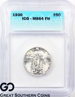 1930 STANDING LIBERTY QUARTER, FULL HEAD, ICG MINT STATE 64 FH  WHOLESALE ASK: 468