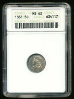 1831-P CAPPED BUST SILVER HALF DIME H10C 5C ANACS MINT STATE 62