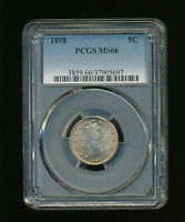 1898 LIBERTY NICKEL V-NICKEL 5C PCGS MINT STATE 66 TYPE 2, WITH