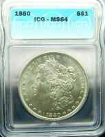 1880 P - MORGAN SILVER $1  ICG MINT STATE 64 -