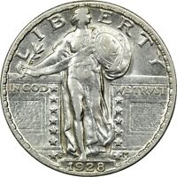 1928 STANDING LIBERTY QUARTER 25C, ABOUT UNCIRCULATED AU