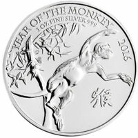 2016 GREAT BRITAIN LUNAR SILVER YEAR OF THE MONKEY 1 OZ. .999 SILVER COIN