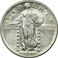 1920 STANDING LIBERTY QUARTER 25C, ABOUT UNCIRCULATED AU