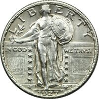 1927 STANDING LIBERTY QUARTER 25C, ABOUT UNCIRCULATED AU