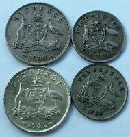 SET OF  5    AUSTRALIA   3P / SIXPENCE SILVER COIN SET    19