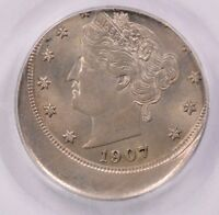 PCGS 5C 1907 LIBERTY NICKEL STRUCK 15 OFF-CENTER MINT STATE 62