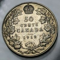 1919 CANADA 50 CENTS STERLING SILVER COIN GEORGE V KM 25