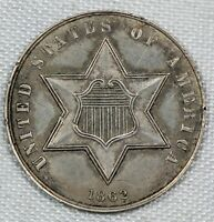 ABOUT UNCIRCULATED 1862 THREE CENT SILVER TRIME AU 3CS