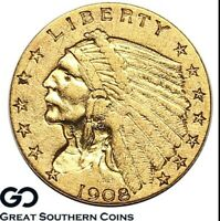 1908 QUARTER EAGLE $2.5 GOLD INDIAN FIRST YEAR COLLECTOR COI
