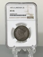 1872 GREAT BRITAIN GOTHIC VICTORIA 2 SHILLINGS  FLORIN  SILVER COIN   NGC XF 45