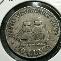 1862 DANISH WEST INDIES SILVER 20 CENTS  COIN