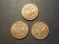 CANADA 1C 1970S ERROR LOT OF 3 COINS: CLIPS AND DEFECTIVE PLANCHET