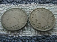 1890 AND 1907 WITH REPUNCHED DATE LIBERTY NICKELS