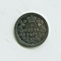 1858 CANADIAN FIVE CENT SILVER COIN VERY FINE   HTG419