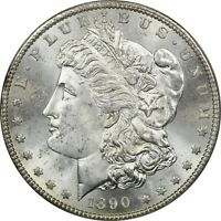 1890-S MORGAN SILVER DOLLAR $1, ICG MINT STATE 65. BRILLIANT UNCIRCULATED