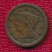 1846 BRAIDED HAIR LARGE CENT   CIRCULATED EARLY COPPER SHIPS FREE