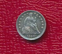 1857 SEATED LIBERTY SILVER HALF DIME CHOICE ABOUT UNCIRCULATED FREE SHIP