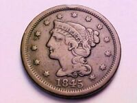 1845 BRAIDED HAIR LARGE CENT, VF-EXTRA FINE