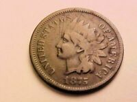 KEY DATE 1875 INDIAN HEAD CENT WITH LIBERTY - VF  FINE DETAILS
