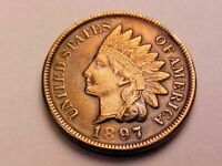 BRILLIANT UNCIRCULATED 1897 INDIAN HEAD CENT BEAUTIFULLY TONED