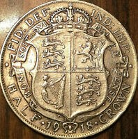 1918 UK GREAT BRITAIN SILVER HALF CROWN   EXCELLENT EXAMPLE