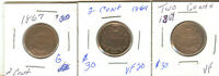 LOT OF THREE TWO CENT PIECES 1864,1864,1867 CIRCULATED