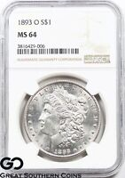 1893-O NGC MORGAN SILVER DOLLAR MINT STATE 64    THIS , PL LOOK, WHITE