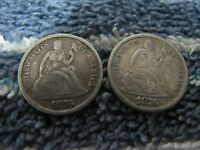 1876-CC MISPLACED DATE AND 1876-S  TYPE 2 REVERSE SEATED DIMES