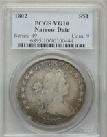 1802 DRAPED BUST SILVER DOLLAR COIN $1 PCGS VG 10