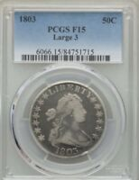 1803 50C LARGE 3 DRAPED BUST HALF DOLLAR PCGS F 15