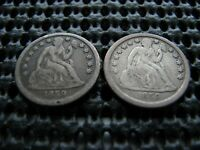 PAIR OF 1859-P SEATED DIMES
