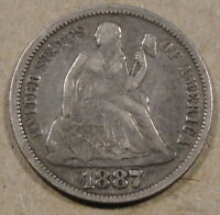 1887 SEATED LIBERTY DIME  MID GRADE COIN