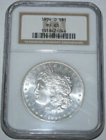 1904-O MORGAN SILVER DOLLAR $1 NGC MINT STATE 63, SOLID STRIKE,  LIGHT TONING