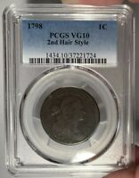 1798 1C PCGS VG 10 DRAPED BUST LARGE CENT - 2ND HAIR STYLE