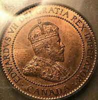 1906 CANADA LARGE CENT PENNY - ICG RED/BROWN MINT STATE 63