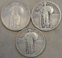 1920 CLEANED F,23 VG,  24 VG STANDING LIBERTY QUARTERS WEAK DATES