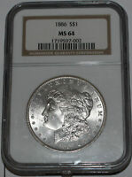 1886-P MORGAN SILVER DOLLAR $1 NGC MINT STATE 64 FULL WHITE WITH LIGHT TONING
