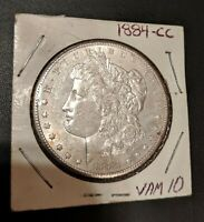1884-CC VAM 10 DASH 8 FAR DATE TILTED RAISED BARS MORGAN SILVER DOLLAR  COIN