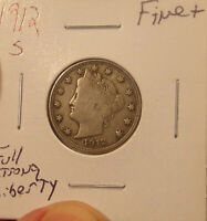 1912 S LIBERTY NICKEL FINE.PRICED TO SELL.LOT 3753