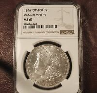 1896 MORGAN DOLLAR NGC MINT STATE 63 TOP-100 VAM-19 MPD