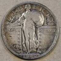 1920 STANDING LIBERTY QUARTER NEARLY FULL DATE F