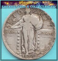 1926 STANDING LIBERTY  HIGH END  FINE 90 SILVER  BARGAIN BUY JUST $12.00