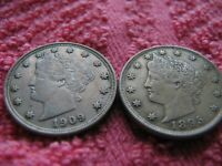 1895 AND 1909 CHOICE LIBERTY NICKELS