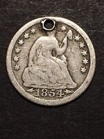 1854 SEATED LIBERTY HALF DIME 5C WITH ARROWS OBSOLETE US SILVER COIN HOLED